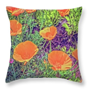 California Poppys Too Throw Pillow