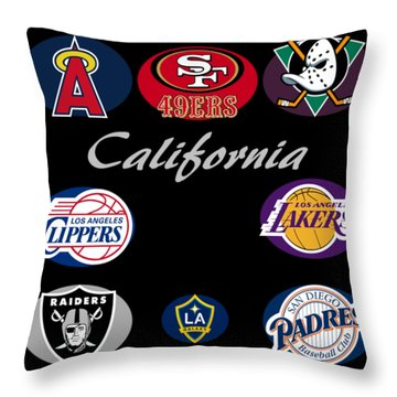 California Professional Sport Teams Collage  Throw Pillow