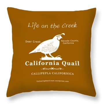 California Quail - White Graphics Throw Pillow