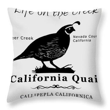 California Quail - White Throw Pillow