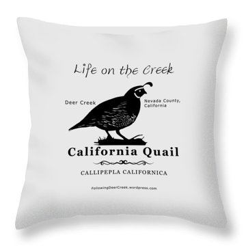 California Quail - White Throw Pillow