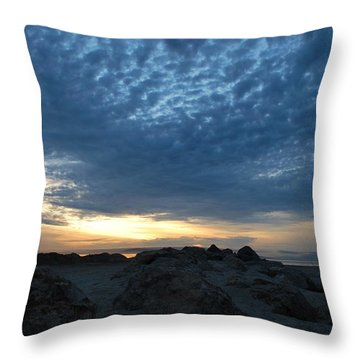 California Rocky Beach Sunset  Throw Pillow