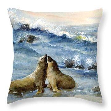 California Sea Lions Throw Pillow
