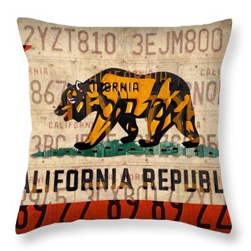 California State Flag Recycled Vintage License Plate Art Throw Pillow by Design Turnpike