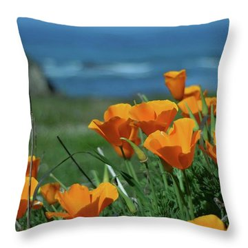 California State Flower - The Poppy Throw Pillow