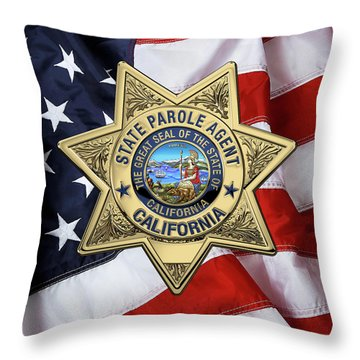 California State Parole Agent Badge Over American Flag Throw Pillow by Serge Averbukh