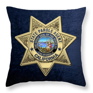 California State Parole Agent Badge Over Blue Velvet Throw Pillow by Serge Averbukh