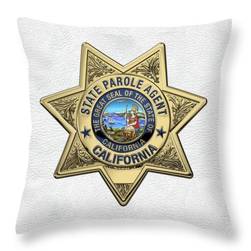 California State Parole Agent Badge Over White Leather Throw Pillow by Serge Averbukh
