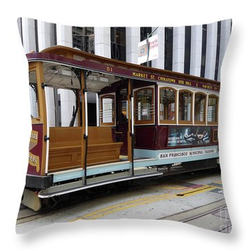 California Street Cable Car Throw Pillow by Steven Spak
