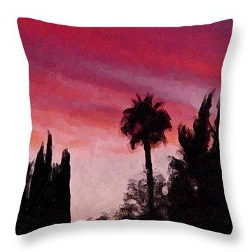 California Sunset Painting 1 Throw Pillow by Teresa Mucha