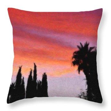 California Sunset Painting 3 Throw Pillow by Teresa Mucha