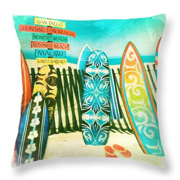 California Surfboards Throw Pillow by Nina Prommer
