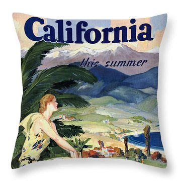 California This Summer - Travel By Train - Vintage Poster Restored Throw Pillow