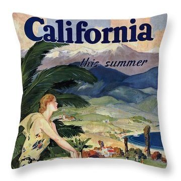 California This Summer - Travel By Train - Vintage Poster Vintagelized Throw Pillow