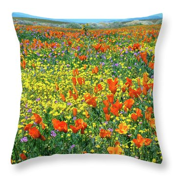 Throw Pillow featuring the photograph California Wildflower Super Bloom by Ram Vasudev