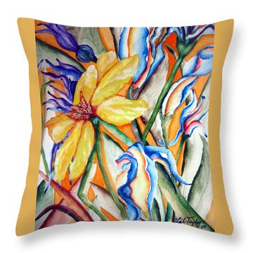Throw Pillow featuring the painting California Wildflowers Series I by Lil Taylor