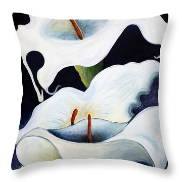 Throw Pillow featuring the painting Calla Lilies.. by Jolanta Anna Karolska