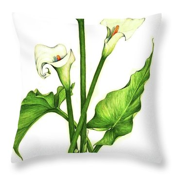 Throw Pillow featuring the painting Calla Lilly by Heidi Kriel