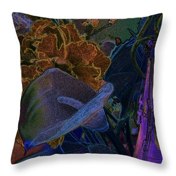 Throw Pillow featuring the digital art Calla Lily Abstract by Stuart Turnbull