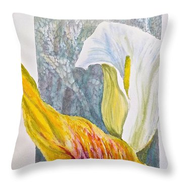 Throw Pillow featuring the painting Calla Lily by Carolyn Rosenberger