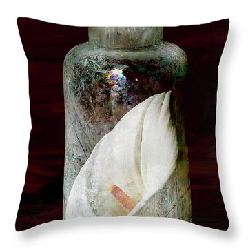 Throw Pillow featuring the photograph Calla Lily In A Bottle by Phyllis Denton