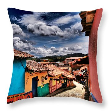 Calle De Colores Throw Pillow