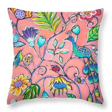 Callies Garden Throw Pillow by Sandra Lett