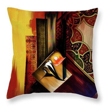 Throw Pillow featuring the painting Calligraphy 102  2 1 by Mawra Tahreem