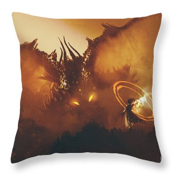 Calling Of The Dragon Throw Pillow