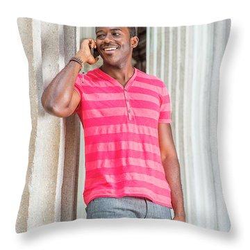 Man Calling Outside Throw Pillow