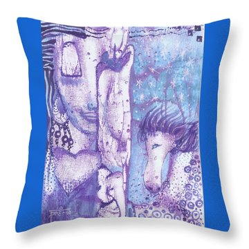 Throw Pillow featuring the mixed media Calling Upon The Spirit Animals by Prerna Poojara