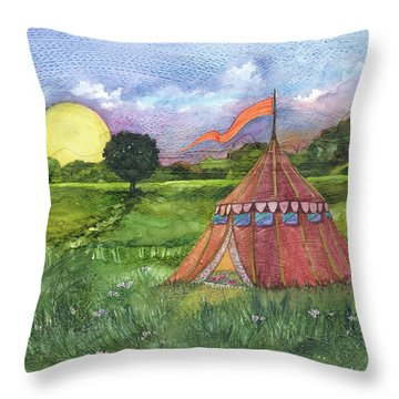 Calliope's Tent Throw Pillow by Casey Rasmussen White