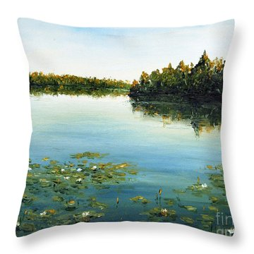 Throw Pillow featuring the painting Calm by Arturas Slapsys