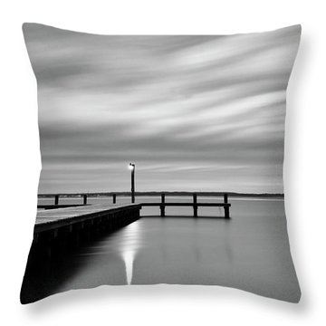Calm Barnegat Bay New Jersey Black And White Throw Pillow