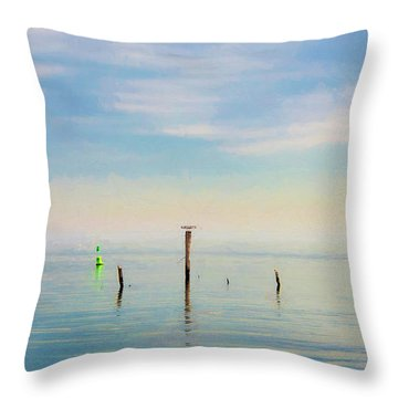 Throw Pillow featuring the photograph Calm Bayshore Morning N0 2 by Gary Slawsky