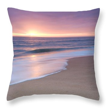 Calm Beach Waves During Sunset Throw Pillow
