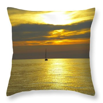 Calm Before Sunset Over Lake Erie Throw Pillow by Donald C Morgan