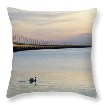 Calm Evening By The Bridge Throw Pillow