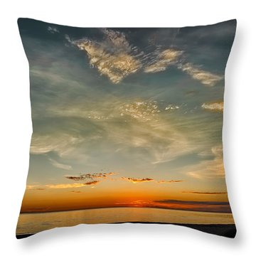 Calm Gulf Waters Sunset Throw Pillow