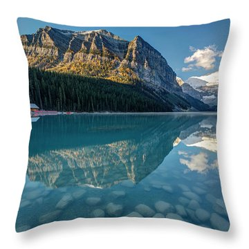 Calm Lake Louise Reflection Throw Pillow