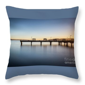 Calm Morning At The Pier Throw Pillow
