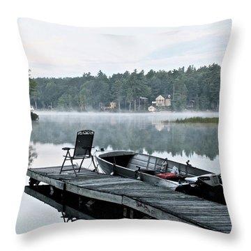 Calm Morning On Little Sebago Lake Throw Pillow