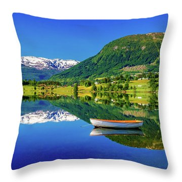 Throw Pillow featuring the photograph Calm Morning On Lonavatnet by Dmytro Korol