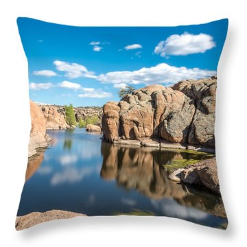 Calm Reflections At Watson Lake Throw Pillow by Leo Bounds