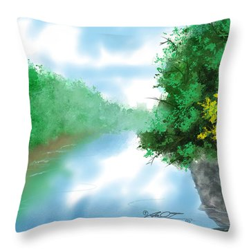 Calm River Throw Pillow