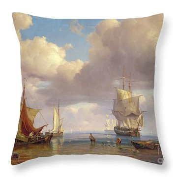 Calm Sea Throw Pillow by Adolf Vollmer