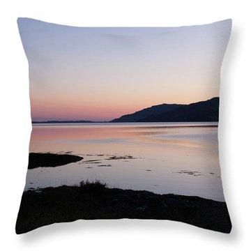 Calm Sunset Loch Scridain Throw Pillow