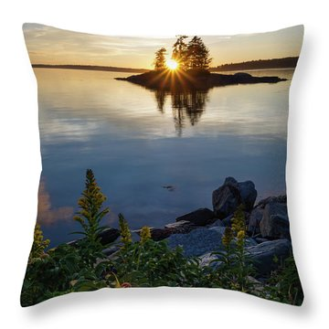 Throw Pillow featuring the photograph Calm Water At Sunset, Harpswell, Maine -99056-99058 by John Bald