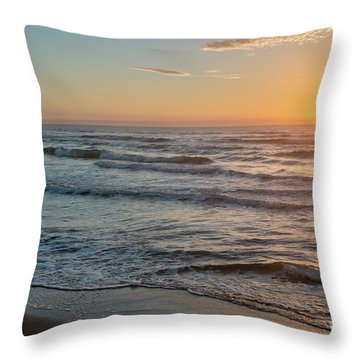Calm Water Over Wet Sand During Sunrise Throw Pillow