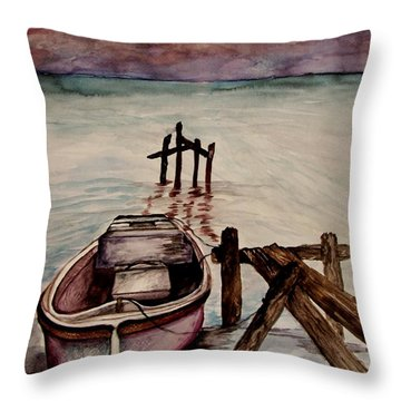 Throw Pillow featuring the painting Calm Waters by Lil Taylor